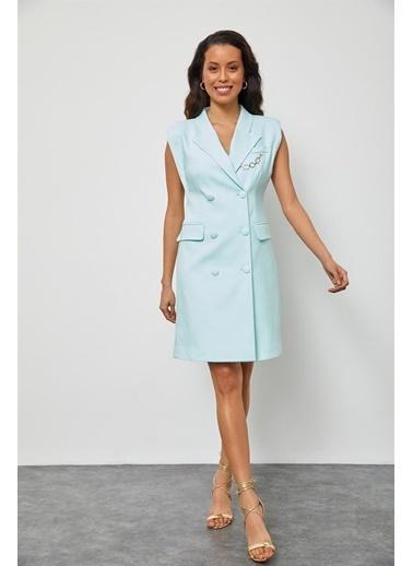Setre Aqua Vatkalı Ceket Elbise Mavi